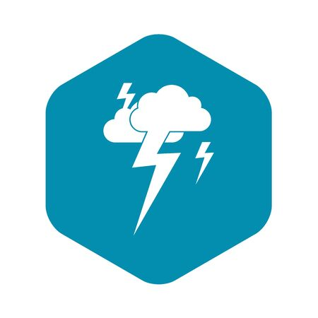 Cloud and lightning icon in simple style isolated illustration