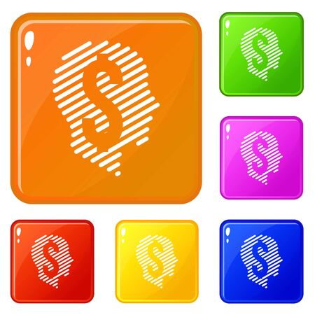 Dollar sign icons set collection 6 color isolated on white background