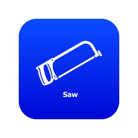Saw icon blue isolated on white background