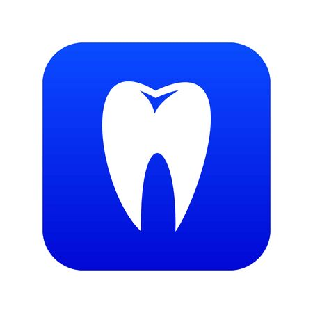 Tooth icon digital blue for any design isolated on white illustration