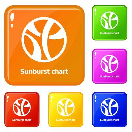 Sunburst chart icons set collection 6 color isolated on white background Stock Photo