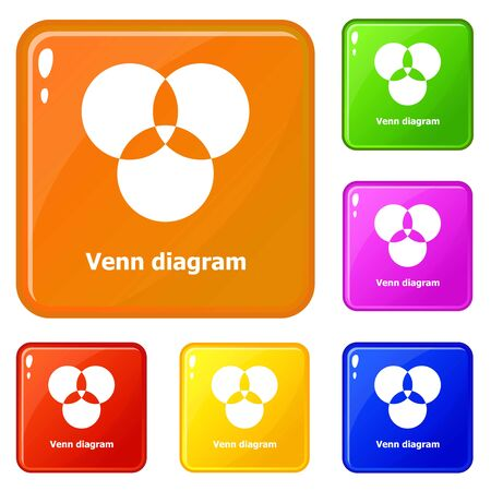 Round venn diagram icons set collection 6 color isolated on white background Stock Photo