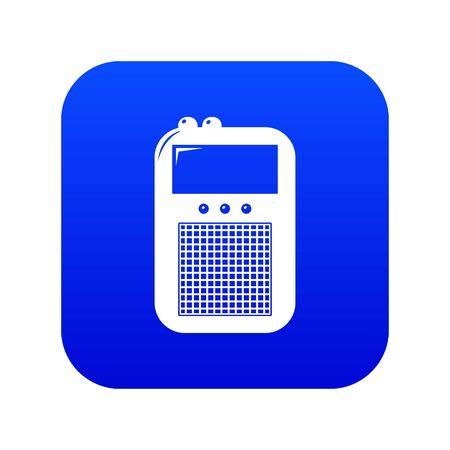 Portable radio icon blue isolated on white background