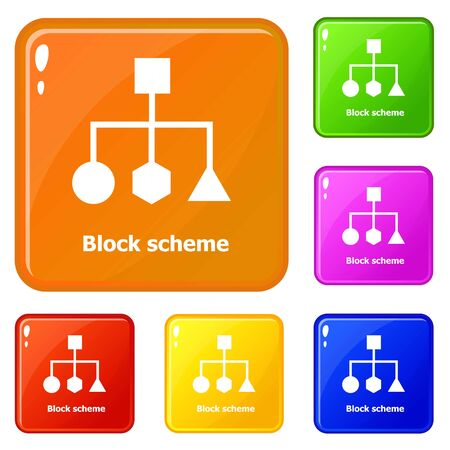 Block scheme icons set collection 6 color isolated on white background