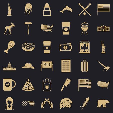 American icons set. Simple style of 36 american icons for web for any design