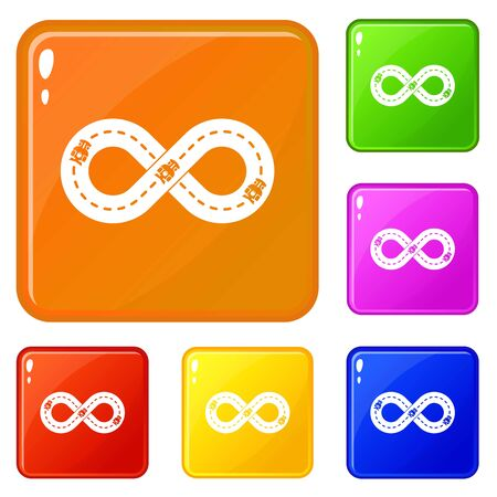 Track icons set collection 6 color isolated on white background
