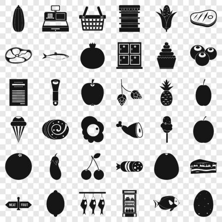 Meat icons set, simple style