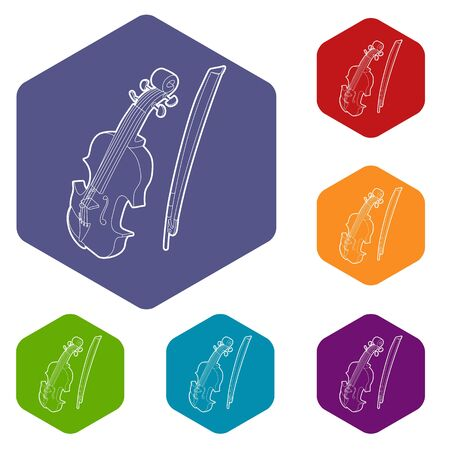 Contrabass icons vector hexahedron