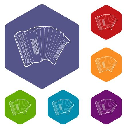 Accordion icons vector hexahedron
