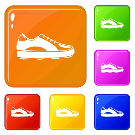 Golf shoe icons set collection vector 6 color isolated on white background Vektorové ilustrace