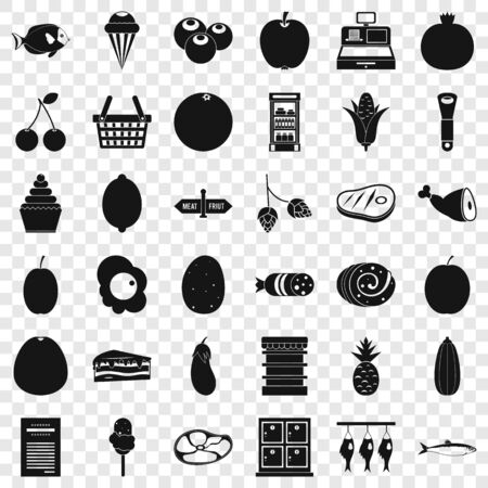Basket icons set, simple style