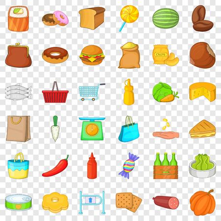 Grocery shopping icons set, cartoon style Banque d'images - 127012137