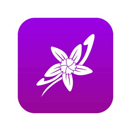 Vanilla sticks with a flower icon digital purple for any design isolated on white vector illustration