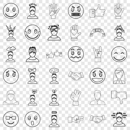 Dizzing icons set, outline style