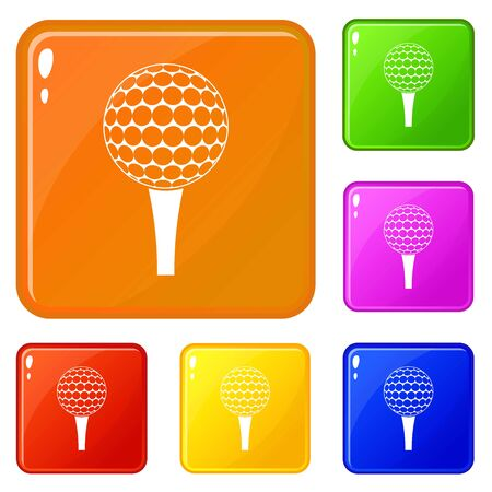 Golf ball on a tee icons set collection vector 6 color isolated on white background