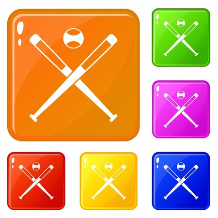 Crossed baseball bats and ball icons set collection vector 6 color isolated on white background