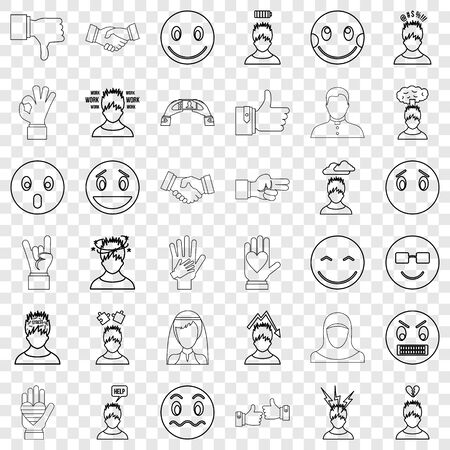 Stressed icons set, outline style