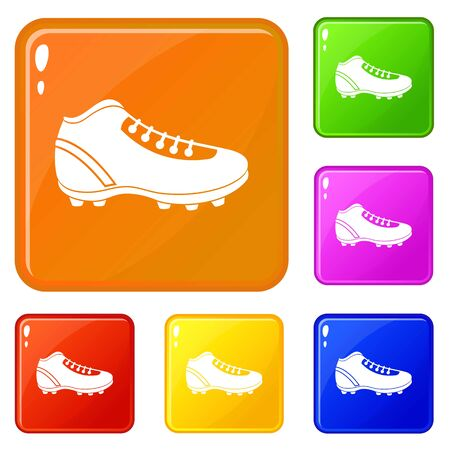 Baseball cleat icons set collection vector 6 color isolated on white background