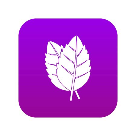 Two basil leaves icon digital purple for any design isolated on white vector illustration Çizim