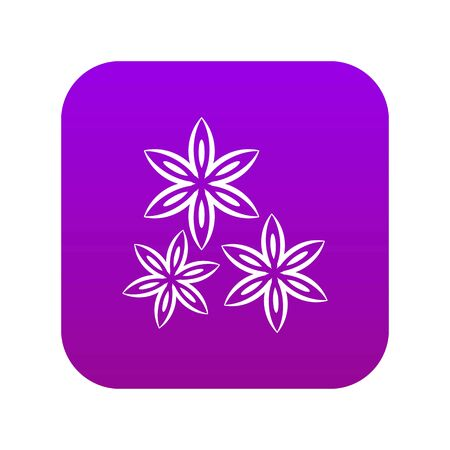 Star anise icon digital purple for any design isolated on white vector illustration