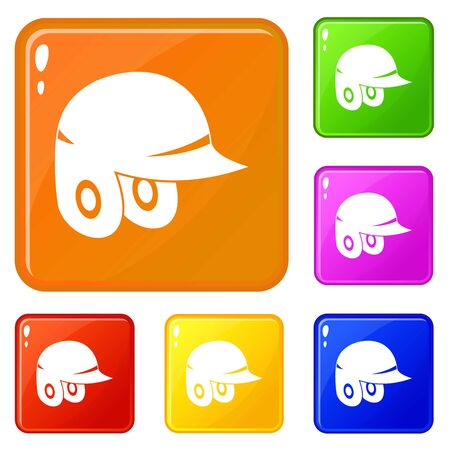 Baseball helmet icons set collection vector 6 color isolated on white background
