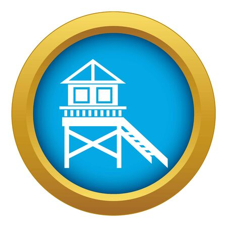 Wooden stilt house icon blue vector isolated