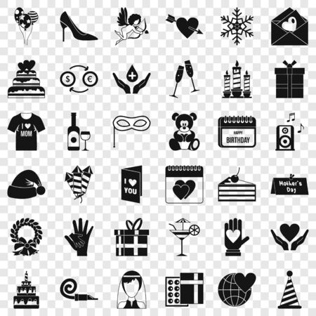 Birthday icons set, simple style