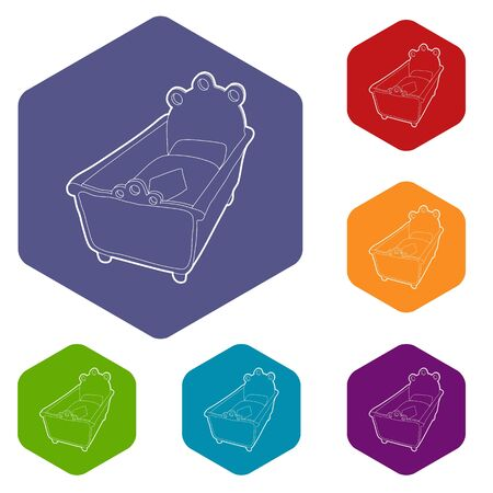 Cradle icons vector colorful hexahedron set collection isolated on white