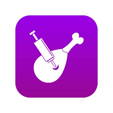Syringe being injected to a piece of meat icon digital purple for any design isolated on white vector illustration