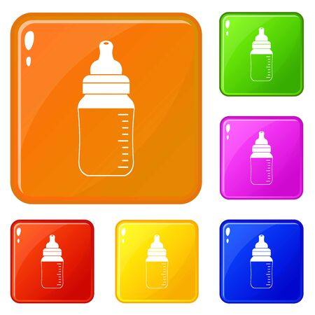 Baby milk bottle icons set collection vector 6 color isolated on white background Illustration