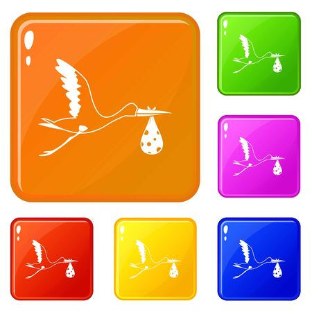 Stork carrying icons set collection vector 6 color isolated on white background Standard-Bild - 130250225