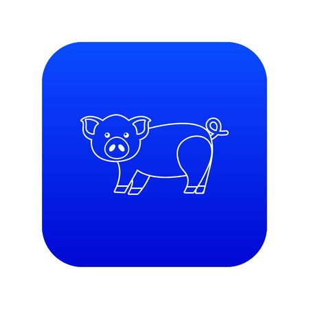 Cute pig icon blue isolated on white background