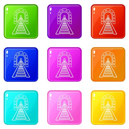 Railway tunnel icons set 9 color collection