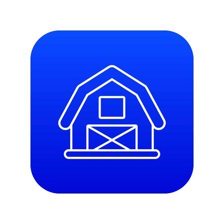 Horse barn icon blue isolated on white background