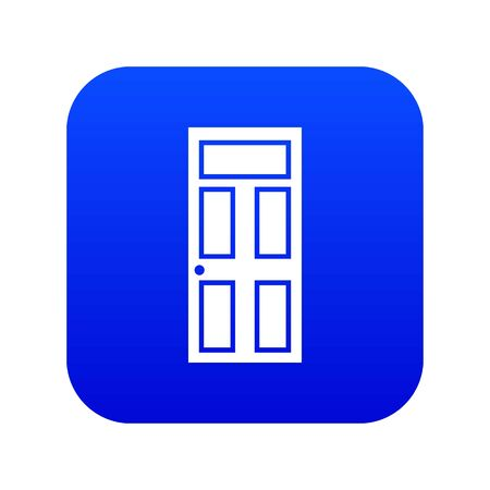 Wooden door with glass icon digital blue for any design isolated on white illustration Stock Photo