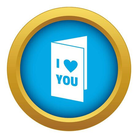 Happy Valentines day or weeding card icon blue isolated on white background for any design Stock Photo