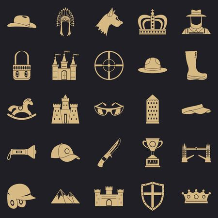 Equestrian icons set, simple style Stock fotó