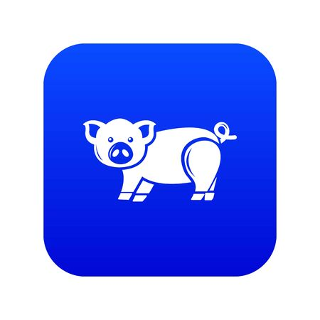 Cute pig icon blue Stock Photo