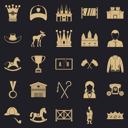 Horsemanship icons set, simple style 스톡 콘텐츠