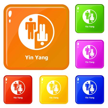 Ying yang icons set color