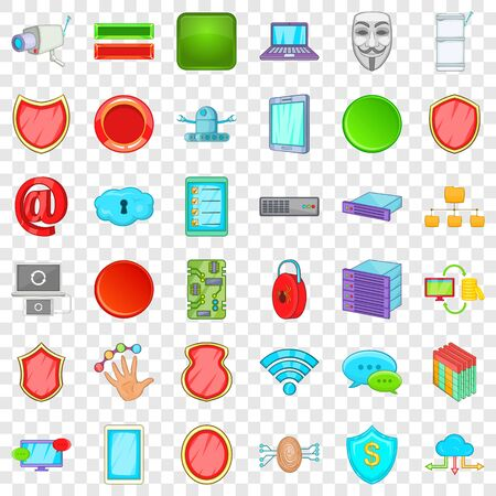 Cyber protection icons set. Cartoon style of 36 cyber protection icons for web for any design Standard-Bild - 128412507