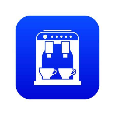 Coffee machine icon digital blue