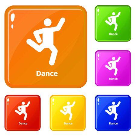 Dance icons set color Banque d'images - 126972337