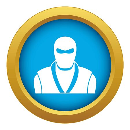 Ninja in black mask icon blue isolated Reklamní fotografie