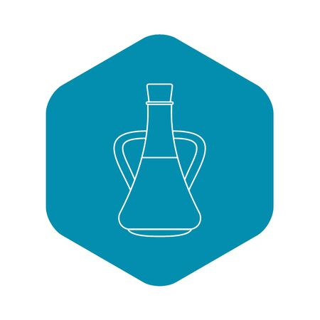 Bottle with olive oil icon, outline style