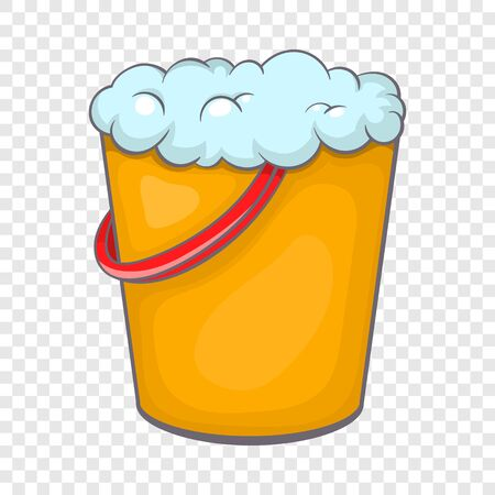 Yellow bucket with foamy water icon Stock fotó