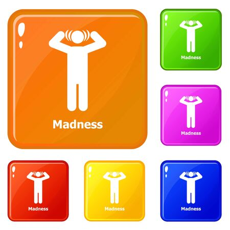 Madness icons set color