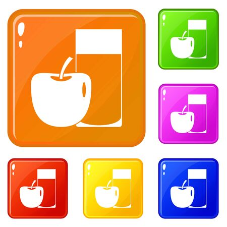 Glass of drink and apple icons set collection vector 6 color isolated on white background
