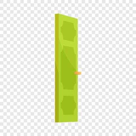 Green door icon. Cartoon illustration of door vector icon for web design
