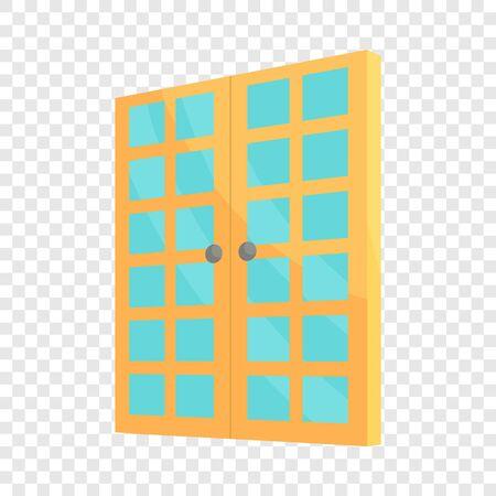 Double room door icon, cartoon style